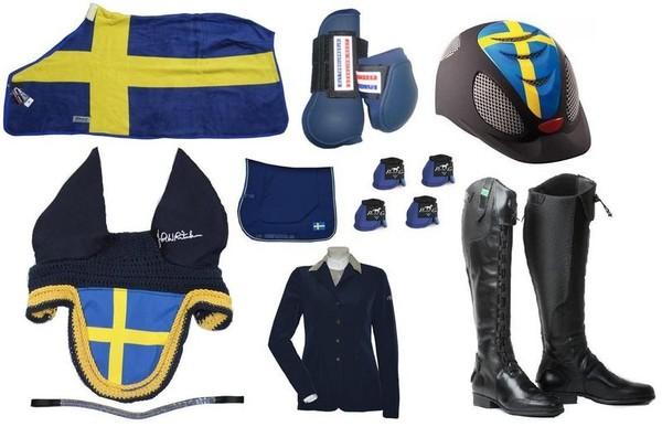 Outfit till häst och ryttare med sveriges färger